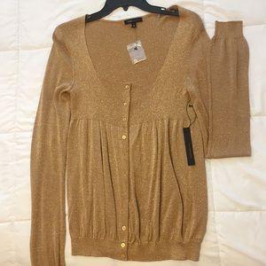 BCBG; Gold Shimmery Sweater